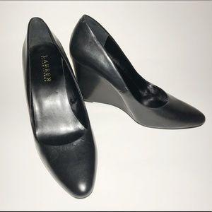 Ralph Lauren black leather wedges